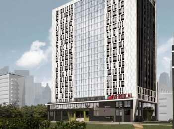 Общий вид на апарт-отель Vertical на Мужества